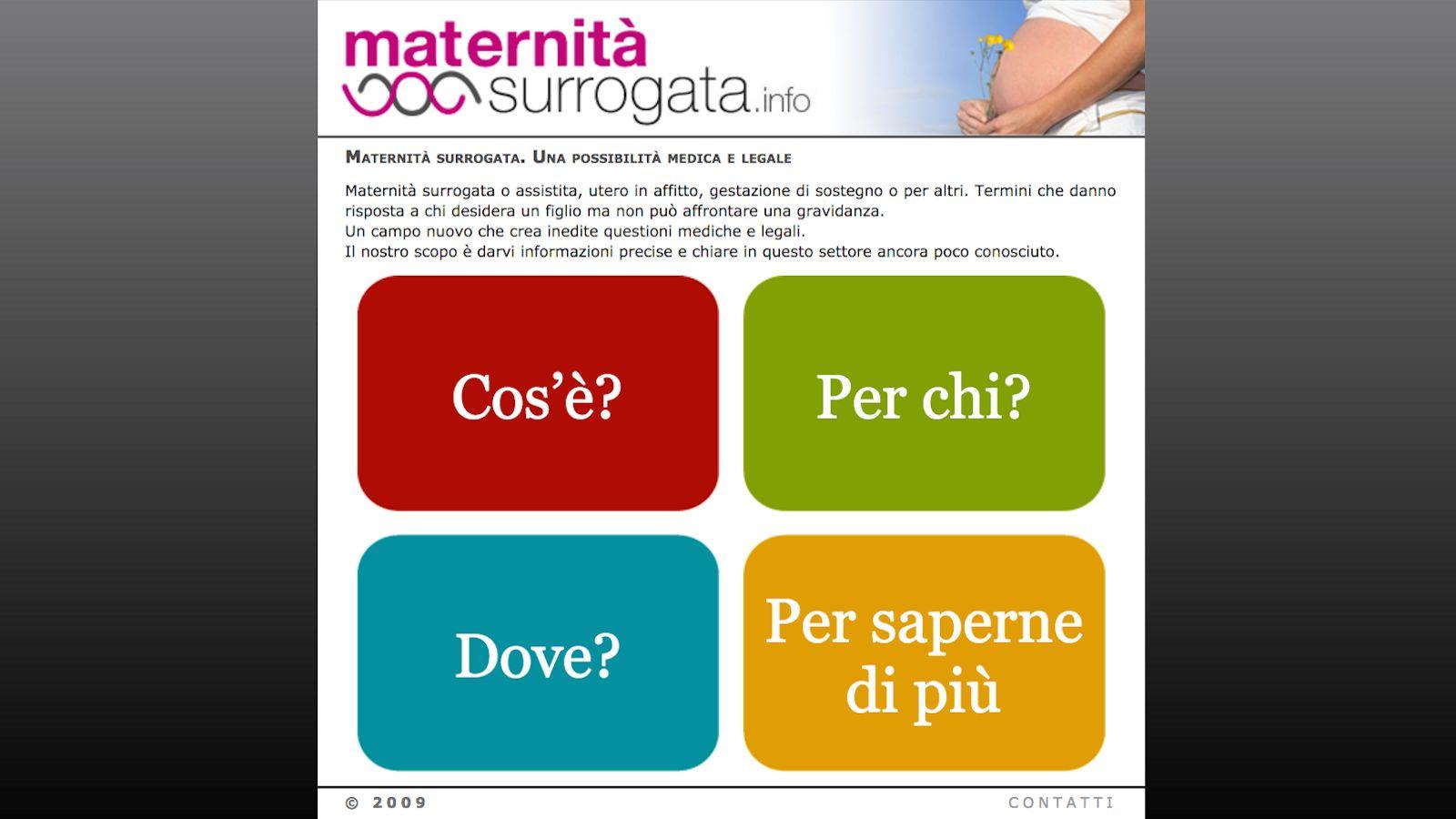 Il vecchio sito maternità surrogata.info online dal 2009